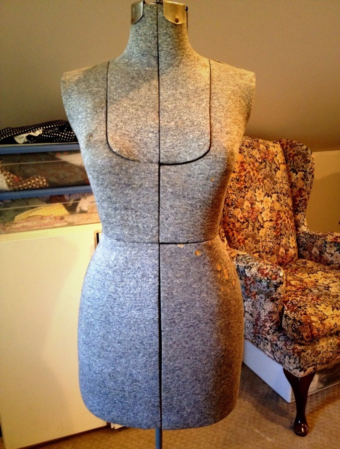 Bertha, the vintage Acme dress form.