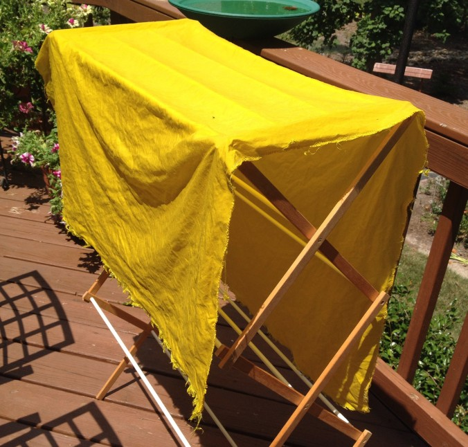 Hand-dyed yellow flax/silk fabric